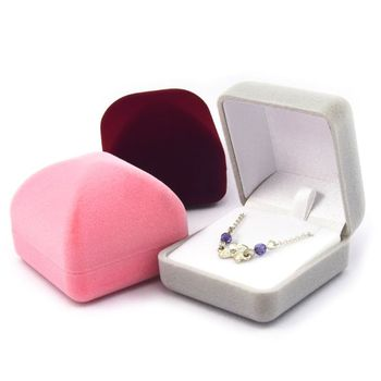 Women Square Flannel Drum Top Jewellery Display Box Charm Lady Ring Necklace Earrings Jewelry Storage Case Container