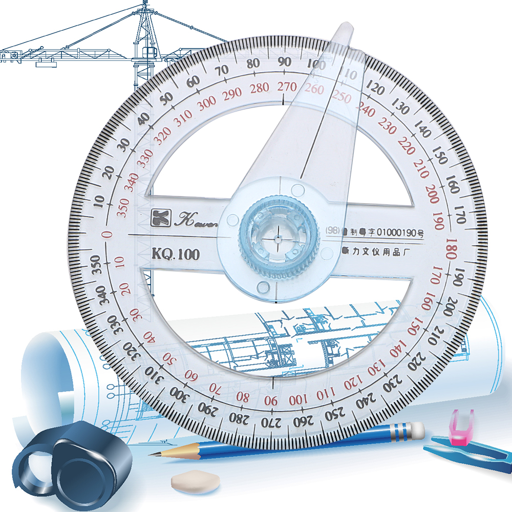 NICEYARD 10cm Circular Swing Arm Angle Finder 360 Degree Pointer Protractor Ruler Plastic Gauging Tools