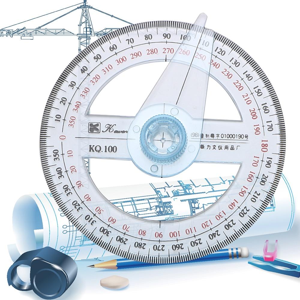 NICEYARD 10cm Circular Swing Arm Angle Finder 360 Degree Pointer Protractor Ruler Plastic Gauging Tools