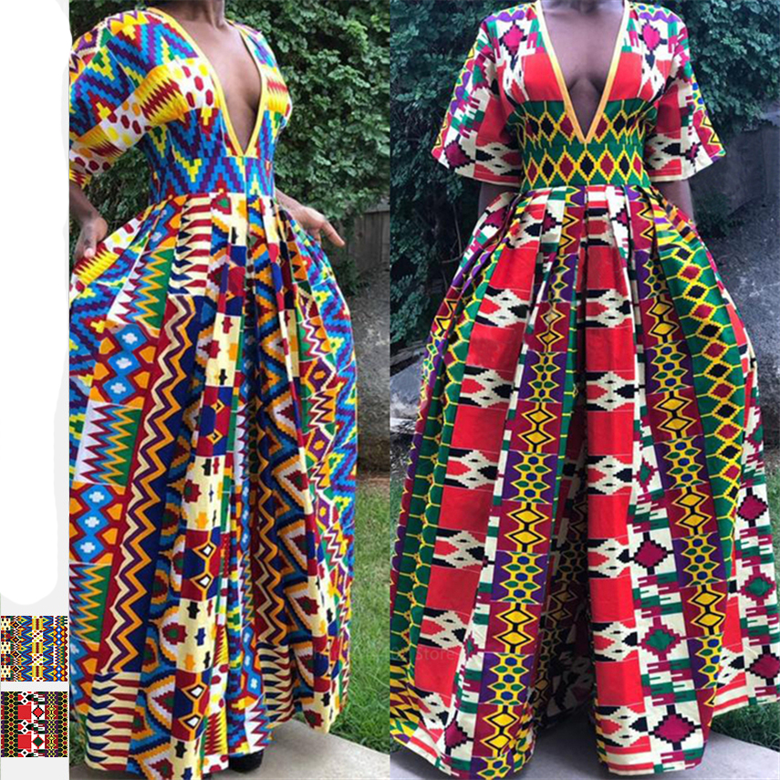 Fashion Jumpsuit 2020 African Dresses For Women Wide Leg Pants V-neck Blouse Trousers Dashiki Print African Clothes Vestios Robe