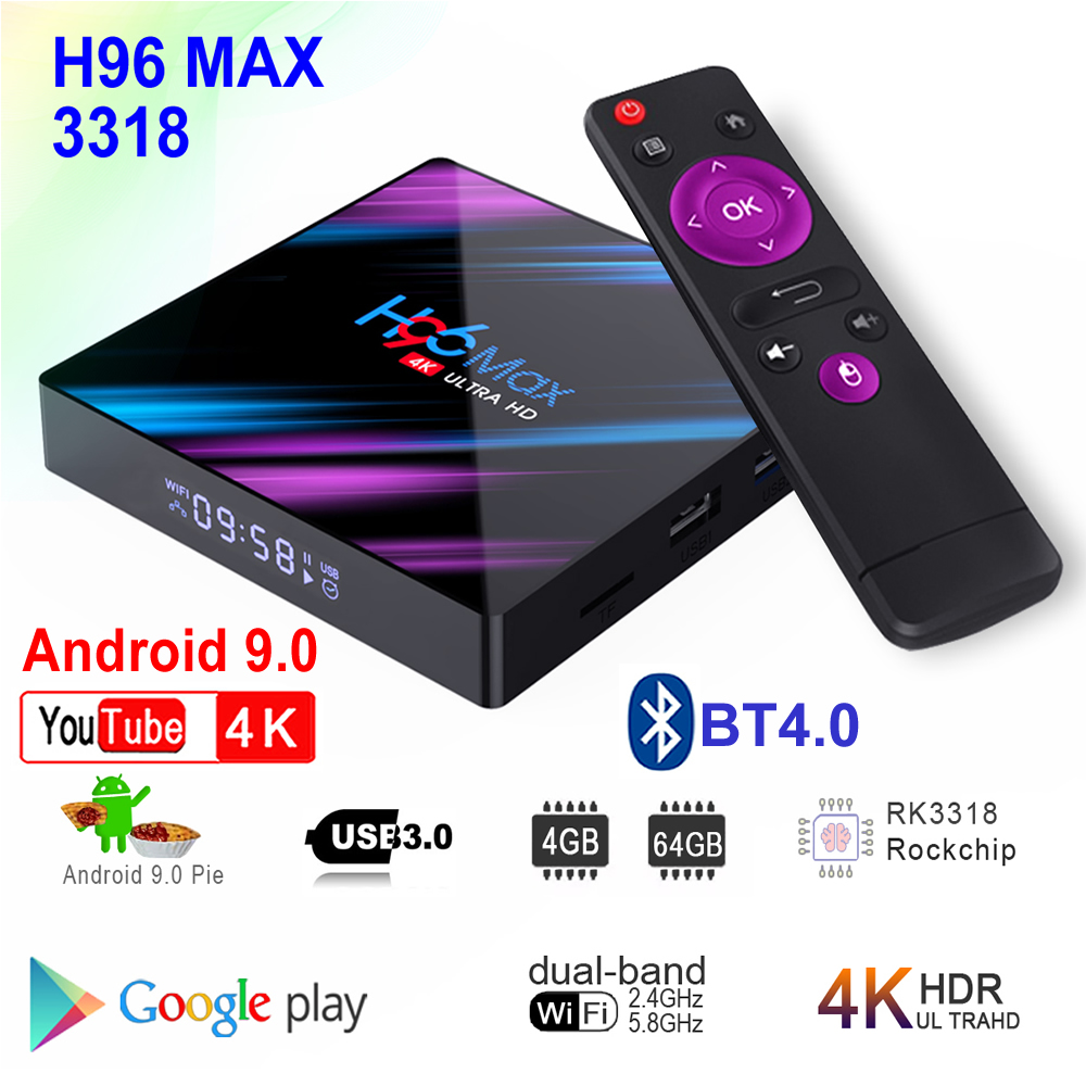 Android 9.0 Smart TV Box H96 MAX 3318 4 go RAM 64 go ROM Rockchip RK3318 BT4.0 USB3.0 2.4G 5G double WIFI 3D 4K HDR lecteur multimédia