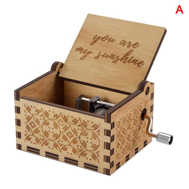 Vintage Music Box Engraved Wooden Hand Crank Music Box Mom Dad Love Birthday Gift M09
