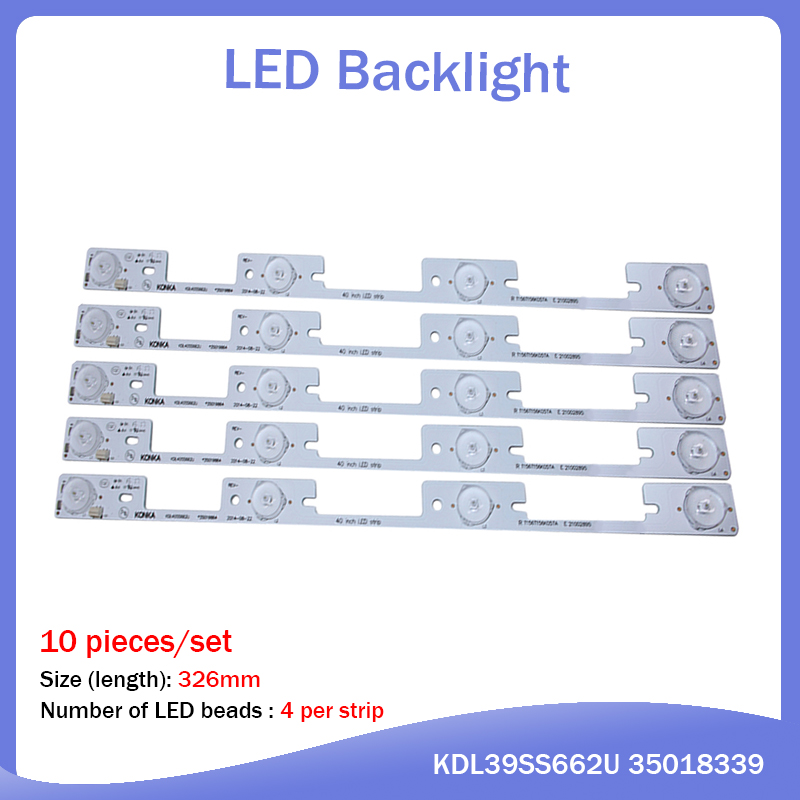 10 Pieces*4 LEDs*6V LED Backlight Bar For TV KDL39SS662U 35018339 KDL40SS662U 35019864 327mm