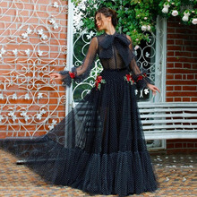 Prom-Dress Flowers Tulle Long-Sleeve Black Princess Thinyfull with Handmade Robe-De-Soiree