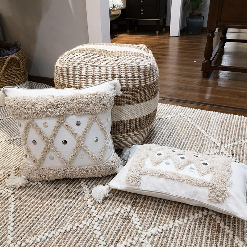 White Canvas Geometric Embroidery Pillow Cover With Sequin Home Dec Tassels Cushion Cover PillowCase Pillow Sham 30x50cm/45x45cm