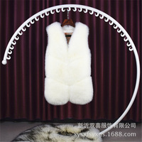 New Style Fox Fur Vest Women's Mid length Korean style Slim Fit Whole Leather Vest Fur Clothing Haining Fur Clothing Wholesale