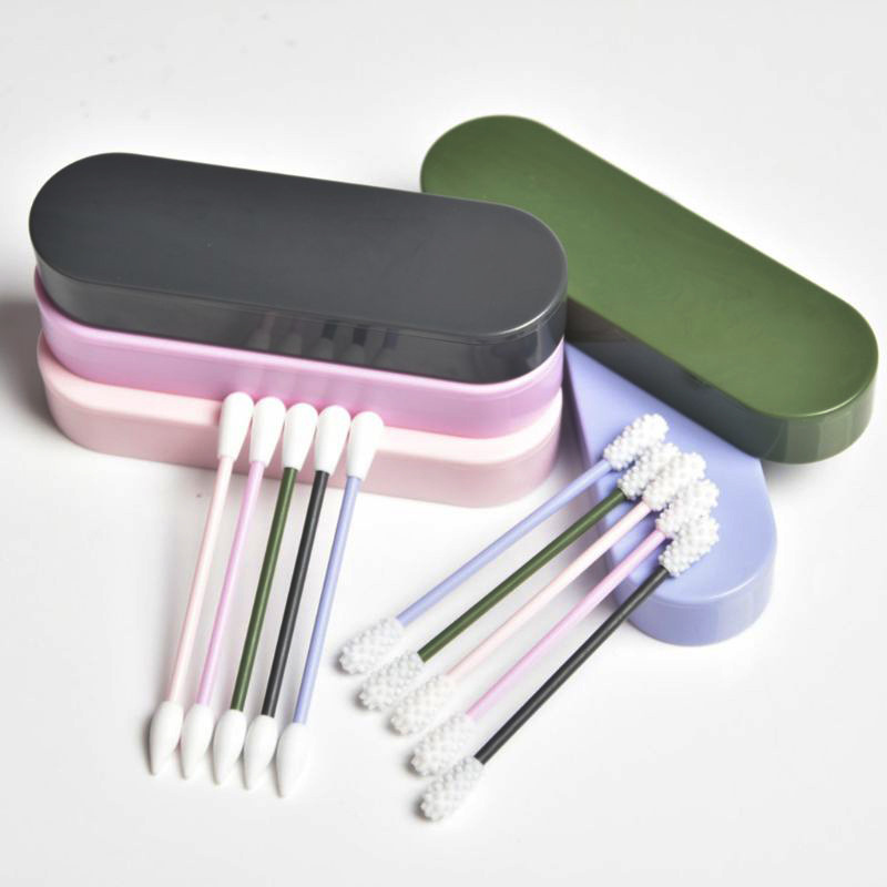 2Pcs/Box Reusable Cotton Swabs Women Makeup Ear Cleaning Cosmetic Silicone Washable Cotton Swab Double Head Cotton Buds Tip