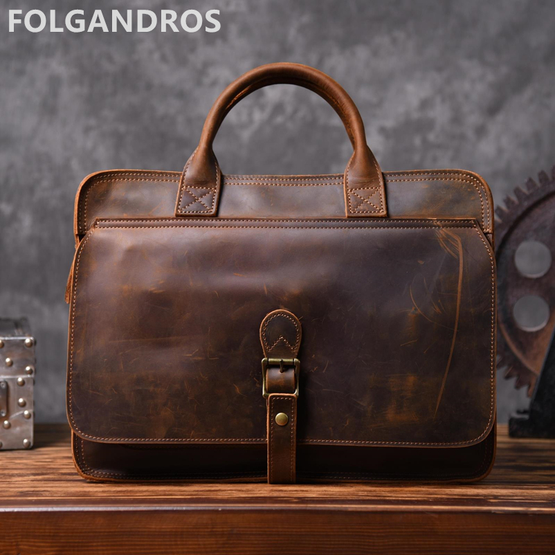 Men's Brand Vintage Briefcases Genuine Leather Business Document Computer Briefcase Large Capacity Cowhide Leather Shoulder Bag