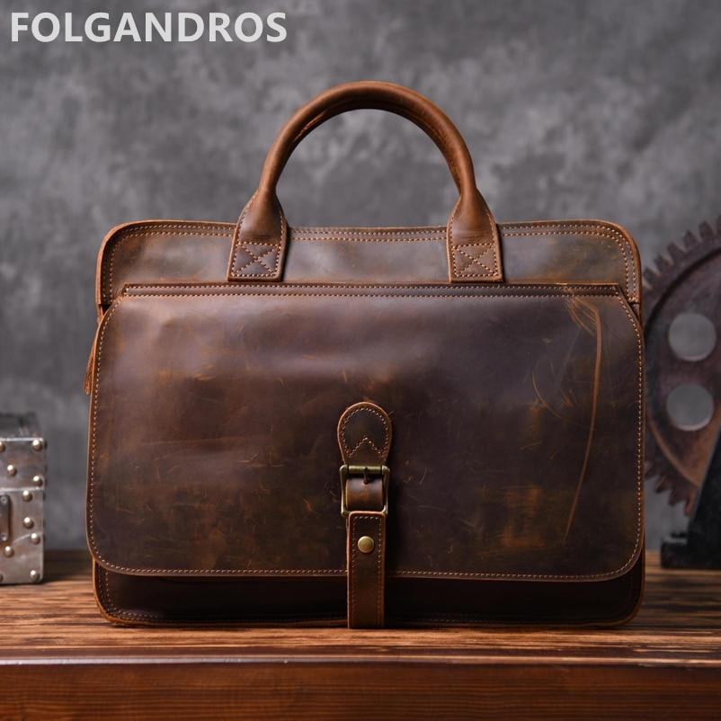 Men's Brand Vintage Briefcases Genuine Leather Business Document Computer Briefcase Large Capacity Cowhide Leather Shoulder Bag