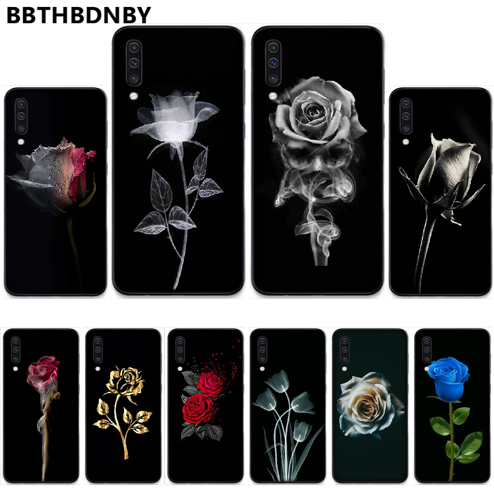 Beautiful black <font><b>white</b></font> Rose flower Coque Shell Phone <font><b>Case</b></font> For <font><b>Samsung</b></font> S6 <font><b>S7</b></font> <font><b>edge</b></font> S8 S9 S10 e plus A10 A50 A70 note8 J7 2017 image