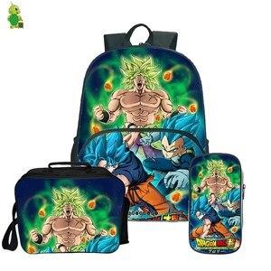 Image 2 - Dragon Ball Super Broly Backpack Pencil Case School Bags  for Teenager Boys Girls  Lunch Backpack 3Pcs/Sets Kids Travel Rucksack