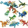 706PCS 6 IN 1 Transformation Robot Building Block Dinosaur Dragon Education Bricks Toy Gift for Children Boys