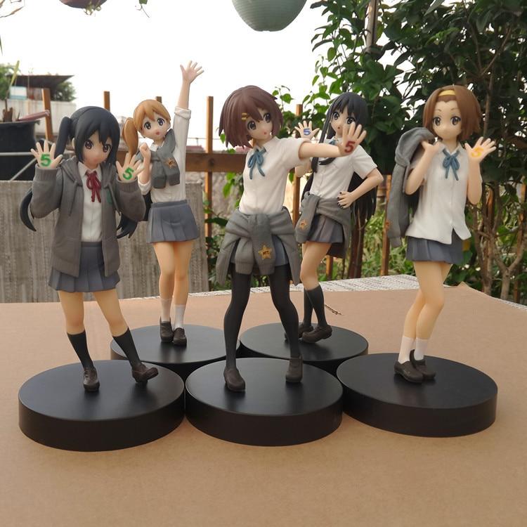 18CM Anime Action Figure K-ON 5th Anniversary Nakano Azusa Tainaka Ritsu Kotobuki Tsumugi Akiyama Mio PVC Model Collection Doll