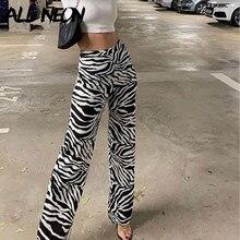 Calças largas y2k da perna do teste padrão da zebra, calças ocasionais, elástico da cintura alta, cópia animal, calças retro da mulher calças empilhadas