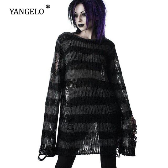 Punk Gothic Long Unisex Sweater 2020 Summer Women Striped Cool Hollow Out Hole Broken Jumper Loose Rock Thin Dark Streetwear Top