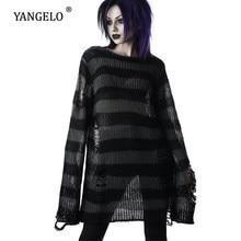 Suéter gótico Punk para mujer, jerseys largos Unisex a rayas, calado, holgado, Rock, ropa de calle, Top oscuro, 2020