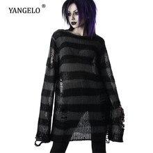 Punk Gothic Lange Unisex Pullover 2020 Sommer Frauen Striped Kühle Aushöhlen Loch Gebrochen Jumper Lose Rock Dünne Dunkle Streetwear top