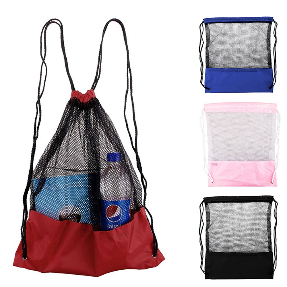 New Mesh Drawstring Backpack Tote Sport Pack Clothes Shoe Travel Bag Beach Backpack Bag Toys ShoesClothes Organizer High Quality