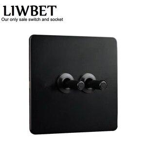 Image 2 - สีดำ 2 gang 2 way Wall Switch และ AC220 ~ 250V แผงสแตนเลสสวิทช์ไฟสีดำสลับสี