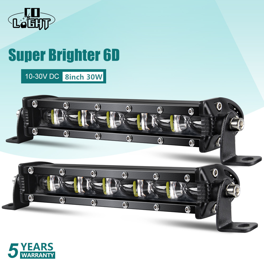 CO LIGHT Led Bar 8Inch 6D Led Light Bar 30W Spot Flood Combo Led Beam DRL For 4X4 Light Suv Truck UAZ Mining Farm 10-30V 6500K