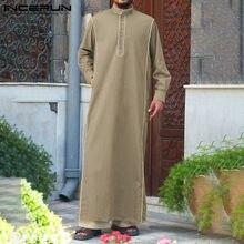 Sólido muçulmano roupas incerun homem kaftan jubba thobe árabe saudita thobe kaftan vestido homem islâmico árabe kaftan manga longa robe 5xl