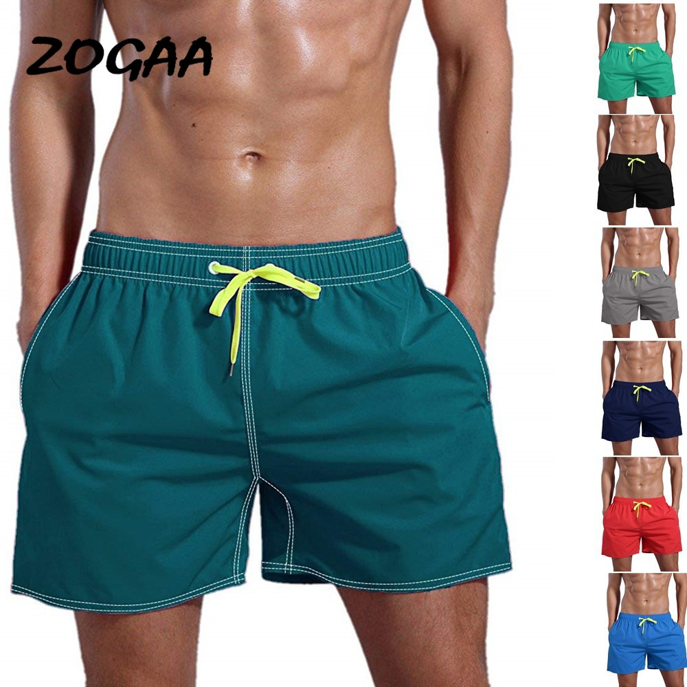ZOGAA 2020 Summer New Men's Shorts European And American Beach Pants Solid Color Cotton Quick-drying Multicolor Beach Pants