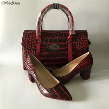 Women Shoes Matching-Bags And WENZHAN for Daily-Use 36-43 A98-23 Bags-Set Favorite Wine-Color