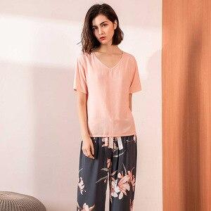 Image 3 - Pink Floral Printed Pajamas Set Women Cotton Satin Comfort V Neck Loose Sleepwear Ladies Top+Pants 2Pcs Homewear Casual Wear