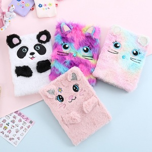 1 Pcs Cute Embroidery Photo Fold Notepad Colorful Animal Cat Panda Plush Notebooks Girl Portable Travel Diary Planner Stationery