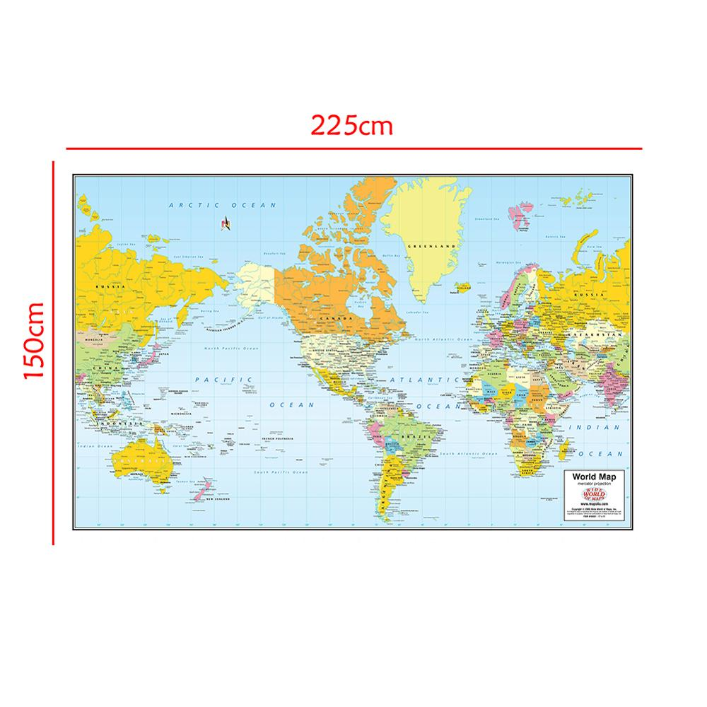 The World Map Mercator Projection Without National Flag For Travel And Trip 150x225cm