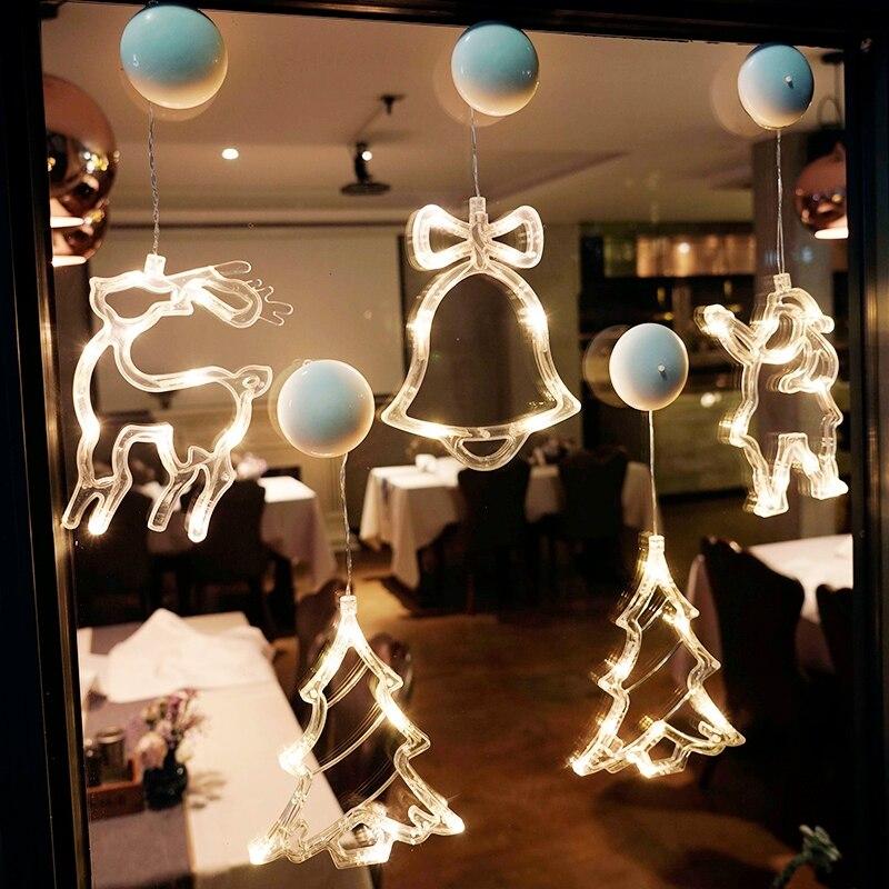 Рождественсветильник гирлянда на присоске для украшения окон, светодиодная лампа с питанием от аккумулятора для дома, сказосветильник осв...