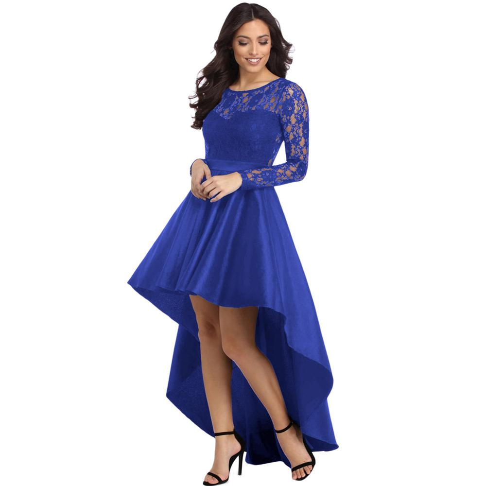 Long Sleeve Lace Dovetail Satin Prom Party Dress Cocktail Dresses  Robe Cocktail PRO30077
