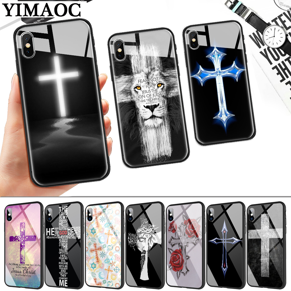 Christian Cross Design Glass Phone Case For Apple IPhone 11 Pro XR X XS Max 6 6S 7 8 Plus 5 5S SE