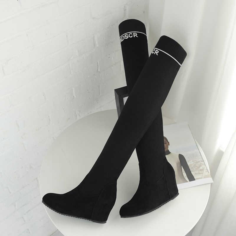 Overknee çorap karışık renk ince streç uyluk çizmeler kadın bottines femme plakaları kadın ayakkabı 2020