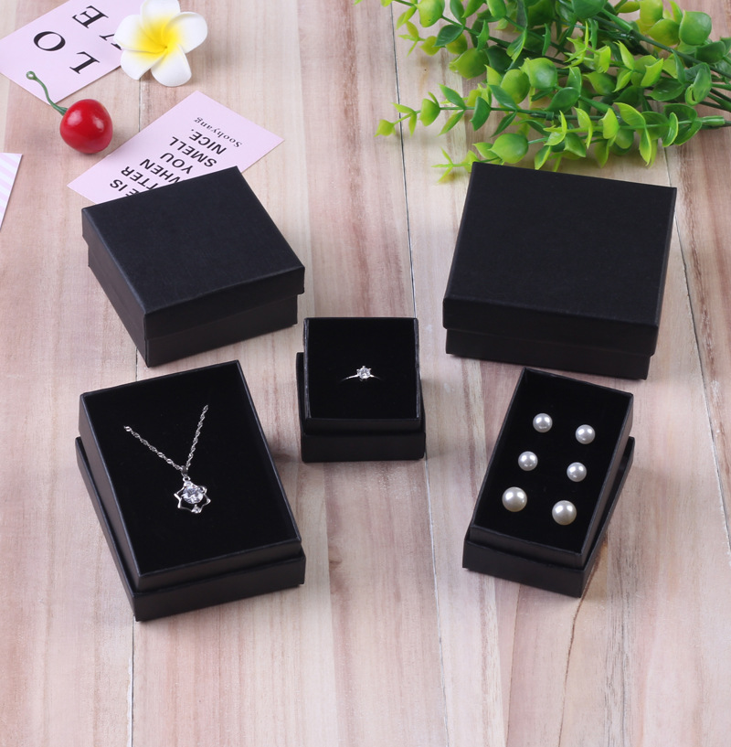 24pcs Pearl Paper Jewelry Gift Boxes Black Bracelet Box Small Jewellery Organizer Necklace Earrings Ring Box Can Custom Logo