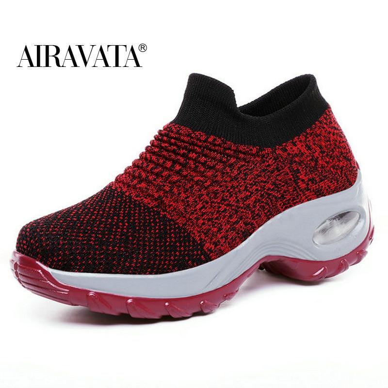 Red-Women's walking shoes Fashion Casual Sport Shoes Platform Sneakers