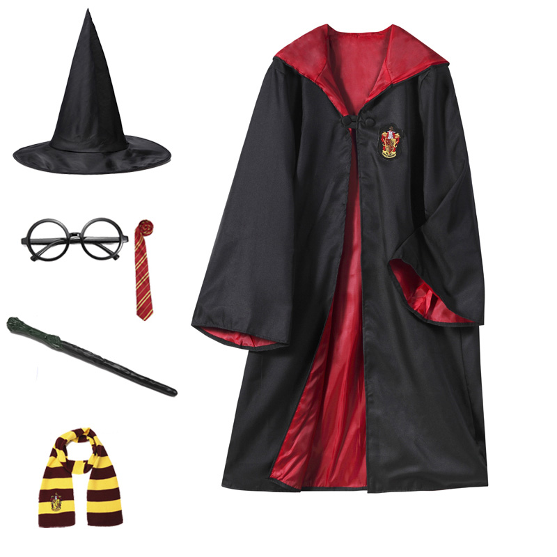 Gryffindor Costume Robe Cape 2020 New Full Set Adult Kids Potter Cosplay Cloak With Tie Scarf Wand Glasses Hat
