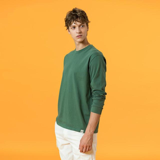 SIMWOOD 2021 Spring new long sleeve t shirt men solid color 100% cotton o-neck tops plus size high quality t-shirt  SJ150278 3