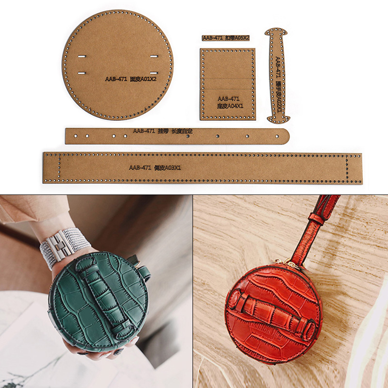 Handmade Leather Round Hand Bag Purse Coin Headset Mini Storage Bag Sewing Pattern Hard Kraft Paper Mold Template