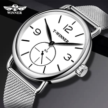 Top Brand WINNER Men Automatic Mechanical Wrist Watches Stainless Steel Business Watch Male Clock Business Men Wrist Watch