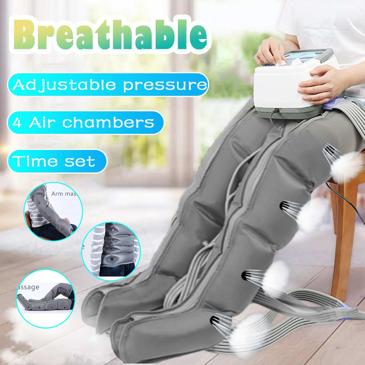 4 Air Chambers Compression Massager Vibration Infrared Therapy Leg Arm Waist Pneumatic Air Wraps Pressure Massager Relax Pain