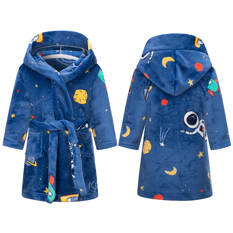 Children's flannel bathrobe children's spaceman dinosaur Unicorn hooded robe Boys Girls Pajamas children's Robe 2-10 years old