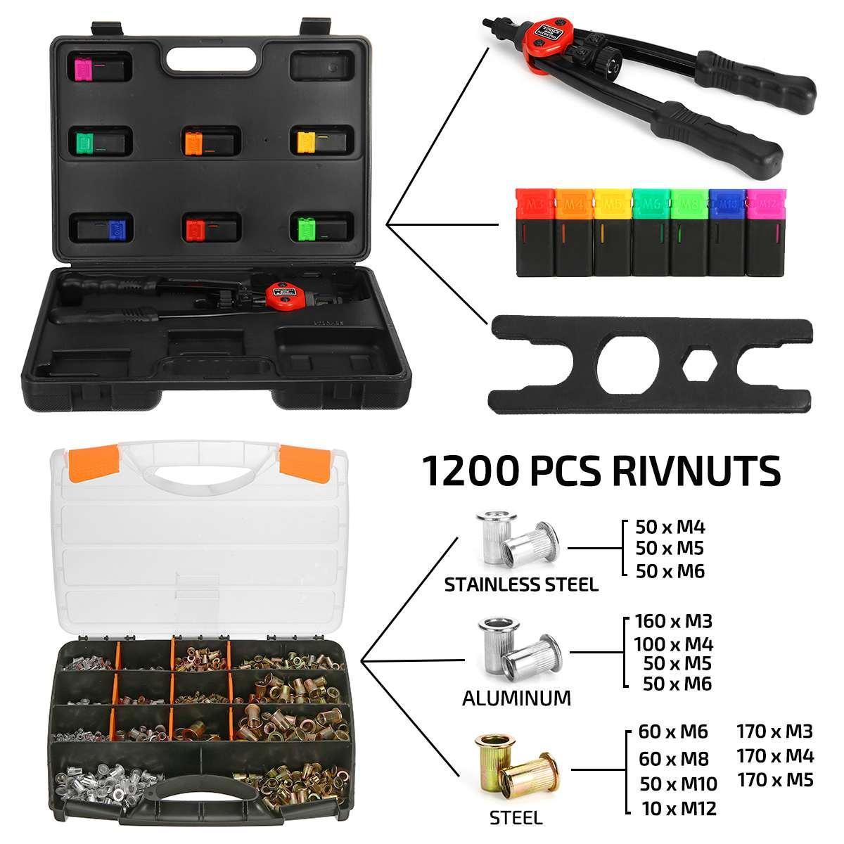 1200pcs Nutsert Tool Kit Rivnut Stainless Steel Rivet Nut Mandrels M3-M12 Nutsert Riveting Kit Household Repair Tools