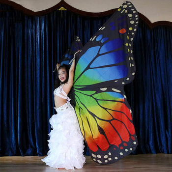 Children Rainbow Butterfly Wings Dancing Color Butterfly Props Belly Dance Butterfly Wings Birthday Gift Accessories фото