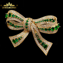 цена на Edwardian Vintage Micro Pave CZ Green Bowtie Brooches Gold Tone Framed Oval Stones Prong-Set Antique Green Bow Knot Pin Broaches