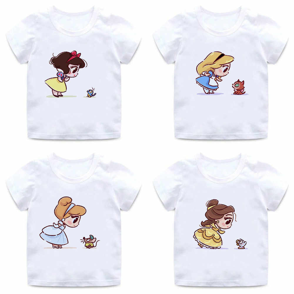 Funny Alice and Fox Print T-shirts Vogue Princess Little Girls Tops T Shirts Summer Casual Kids T-shirt for Girl, BAL020