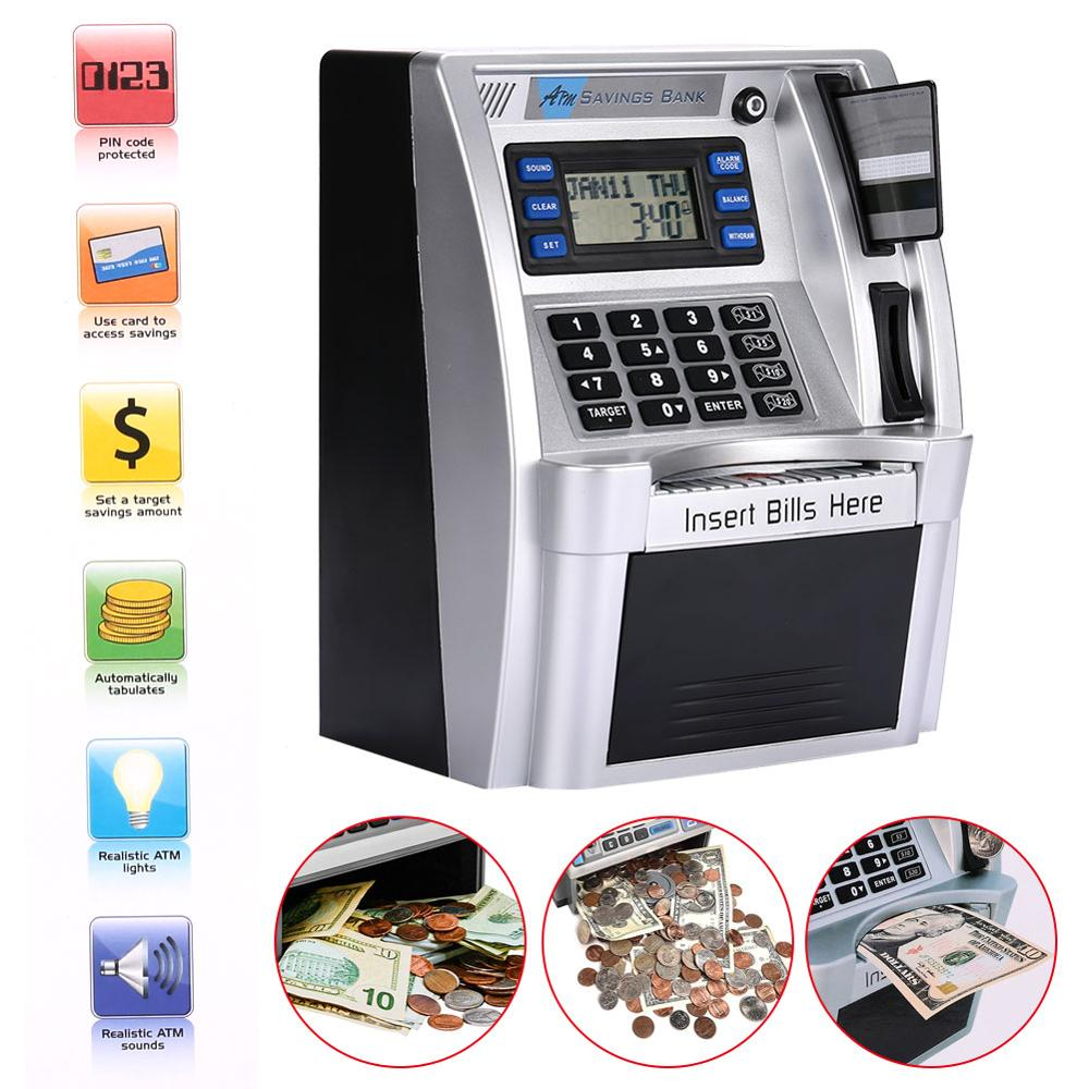 Giantree Simulation US ATM Saving Banks ATM Piggy Bank ATM Money Safe Boxes With LCD Screen Silver Kids Gift Money Safe Box