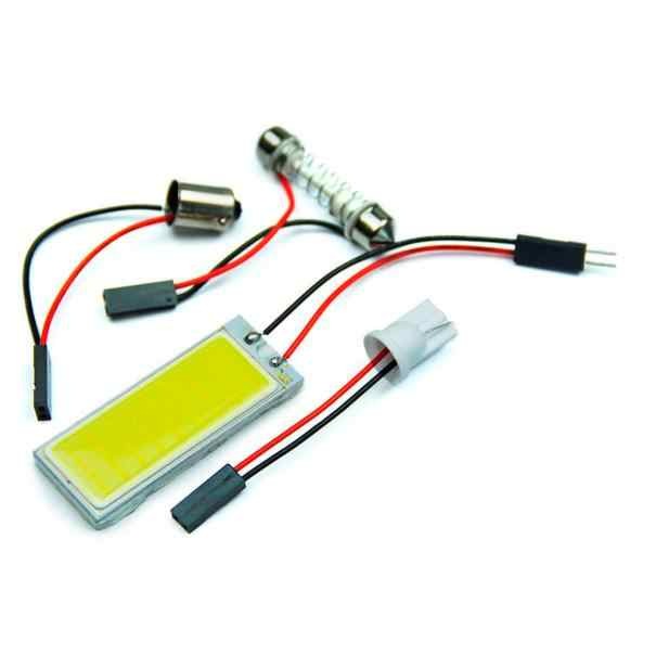 Auto 2 pièces 12 V xénon HID blanc 36 COB LED dôme carte ampoule voiture intérieur panneau lampe intérieur ampoule LED adaptateur style # PY10