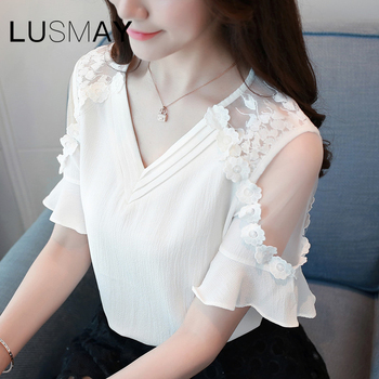2020 Summer New Arrival Ruffle Short Sleeve Lace Patchwork Chiffon Blouses Women Casual Shirts 1