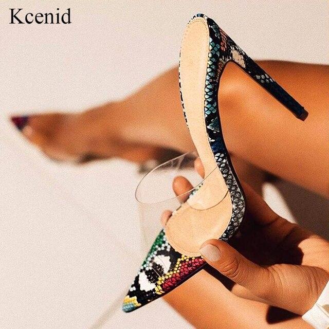 Kcenid sexy pvc transparente cobra impresso senhoras chinelos verão moda festa sapatos de salto alto gladiador slides sandálias